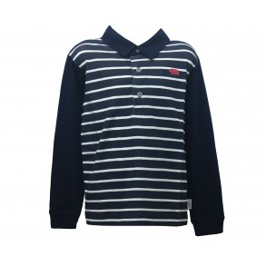 STRIPED POLO IN NAVY